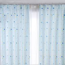 Patterned Window Curtains Baby Blue Polyester Shaped Patterned Bay Window Curtains