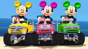monster trucks you tube videos mickey mouse colors u0026 monster trucks wheels nursery rhymes