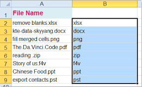 how to extract file extension from worksheet