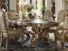 dresden 7 piece dining set in gold patina finish by acme 63150