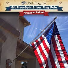 Flag Pole Express Free Spinning Silver Flag Pole By Usa Flag Co 6 Ft 1 Inch Diameter