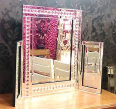 new modern crystal design dressing table mirror bevelled edge