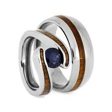 titanium wedding ring sets hawaiian wood ring set titanium wedding rings with koa wood 2668