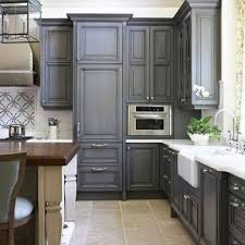 charming grey stained kitchen cabinets with grand table modern
