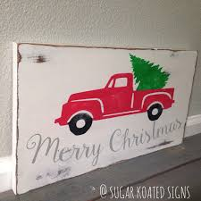 red truck christmas tree home for the holidays painted wood
