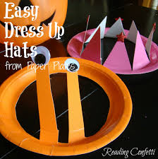 halloween hats easy dress up hats paper plate craft reading confetti