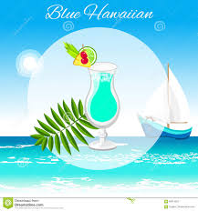 blue hawaiian cocktail blue hawaiian cocktail on the seaside background stock vector