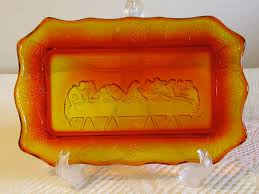 lord s supper plates amberina glass bread plate last supper bread tray supper