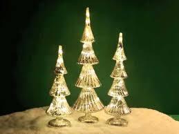 80049 set of 3 led fluted mercury glass trees