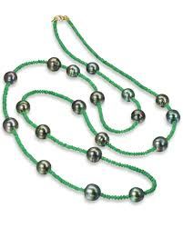 emerald pearl necklace images Emerald bead and pearl necklace turgeon raine jpg