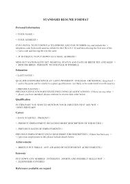 standard resume template gerardradio co