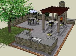 Backyard Kitchen Design Ideas Patio Layout With Outdoor Kitchen Area Would Do Small Covered