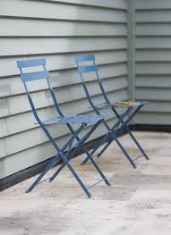 Steel Bistro Chairs Set Of 2 Bistro Chairs In Dorset Blue Steel Garden Trading