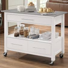 kitchen island cart stainless steel top latitude run monongah rectangular kitchen cart with stainless with