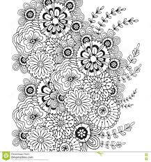 vector pattern with doodle ornament of flowers coloring