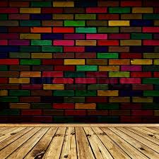 empty interior with wooden floor and multicolored brick wall