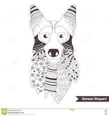 german shepherd coloring book stock vector image 74047303