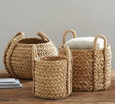 Pottery Barn Baskets With Liners Beachcomber Round Handled Baskets Pottery Barn