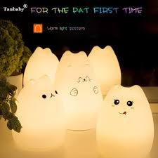 usb cat night light tanbaby children s cat night light portable 7 color cartoon animal