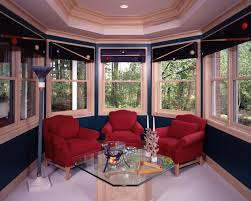 Window Treatments For Bay Windows In Bedrooms - interior red bay window curtains on the yellow wall with round