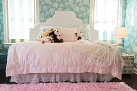 Daybed With Bookcase Headboard Pink And Blue Bedroom With Pink Bookcase Contemporary