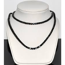 black neck necklace images Men 39 s tennis necklace chain simulated black cubic zarcon 1 row jpg