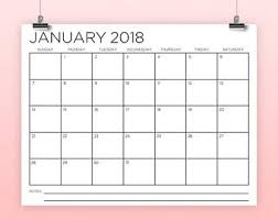 8 5x11 inch 2018 calendar template instant download serif
