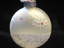 hand painted frosted glass christmas ball ornament cardinal snow