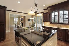 brown laminated wooden floor with cream laminated wooden kitchen