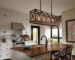 kitchen with contemporary stools and linear chandelier stunning