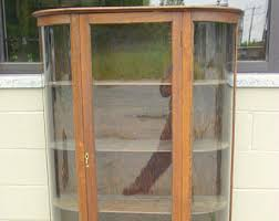 curved glass cabinet etsy