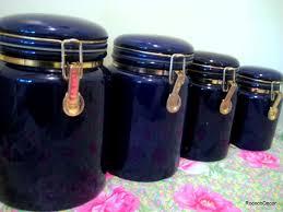 cobalt blue kitchen canisters 4 vintage cobalt blue ceramic kitchen canisters by rococodecor