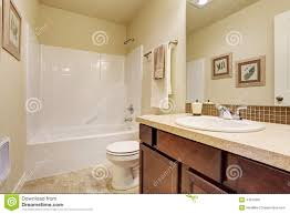 Bathroom With Beige Tiles What Color Walls Bathroom Interior With Beige Tile Wall Trim Stock Photo Image