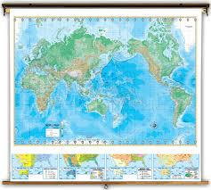 World Map Us by Advanced U S U0026 World Physical Classroom Map Combination On Spring