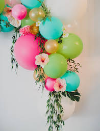 diy floral balloon arch pink turquoise bright pink and florals