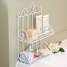 Tiered Bathroom Storage White Wire Two Tier Bathroom Storage Rack By Dibor