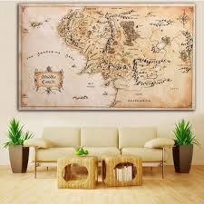 Map Home Decor 110x60cm Map Of Middle Earth Lord Of The Rings Silk Cloth Poster