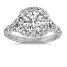 diamond halo rings images Round diamond halo split shank engagement ring shane co jpg