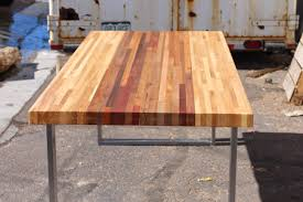hand made mixed malaysian and ash butcher block desk by defiance