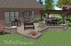 creative brick patio design with pergola fire pit u0026 bar