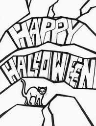 cat and happy halloween coloring pages for kids to print