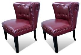 Burgundy Accent Chair Regal Tufted Accent Chair With Nail Heads Set Of 2 Armchairs