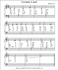 print free piano sheet for coventry carol or duet