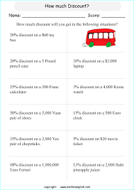 math discount worksheet for grade 5 math students calculate the