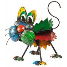 the cat recycled metal garden sculpture