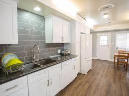 White Kitchen Granite Ideas by White Kitchen Gray Backsplash L Shaped White Wooden Kitchen