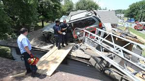 car crashes into roof of st louis home fox2now com