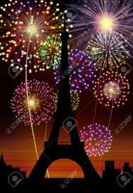 fireworks happy new year city tour eiffel stock