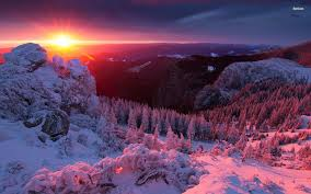 36123 amazing winter sunset in mountains 1920x1200 nature
