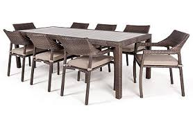 Table Patio 8 Person Ciro Rectangular Patio Dining Table With Glass Surface